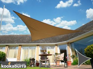 Kookaburra® 5m Triangle Mocha Waterproof Woven Shade Sail