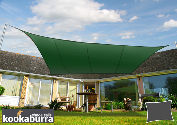 Kookaburra® 4mx3m Rectangle Green Party Sail Shade (Woven - Water Resistant)