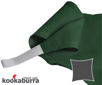 Kookaburra® 3.6m Square Green Party Sail Shade (Woven - Water Resistant)