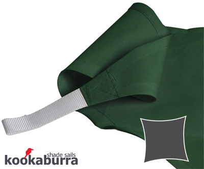 Kookaburra® 3m Square Green Party Sail Shade (Woven - Water Resistant)