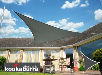 Kookaburra® 6m Right Angle Triangle Charcoal Party Sail Shade (Woven - Water Resistant)