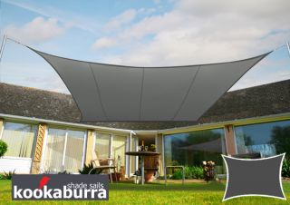Kookaburra 5mx4m Rectangle Charcoal Party Sail Shade (Woven - Water Resistant)