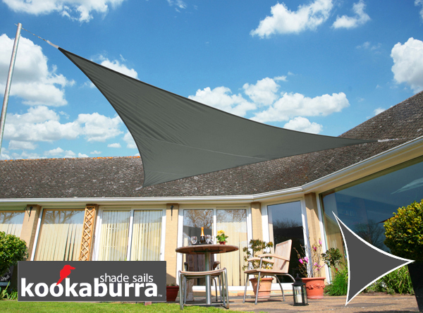 Kookaburra® 3m Triangle Charcoal Party Sail Shade (Woven - Water Resistant)