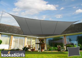 Kookaburra® 6mx5m Rectangle Charcoal Party Sail Shade (Woven - Water Resistant)