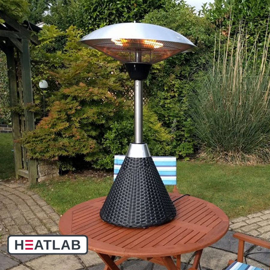 2.1kW IP44 Halogen Bulb Infrared Electric Table Top Heater with Black Rattan Base and 3 Heat Settings by Heatlab®