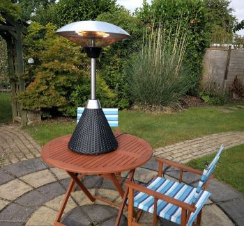 2.1kW Halogen Bulb Infrared Electric Table Top Heater with Black Rattan Base and 3 Heat Settings by Firefly™