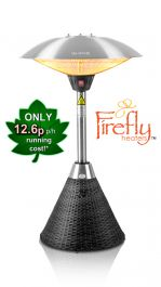 2.1kW IP44 Halogen Bulb Infrared Electric Table Top Heater with Black Rattan Base and 3 Heat Settings by Firefly™