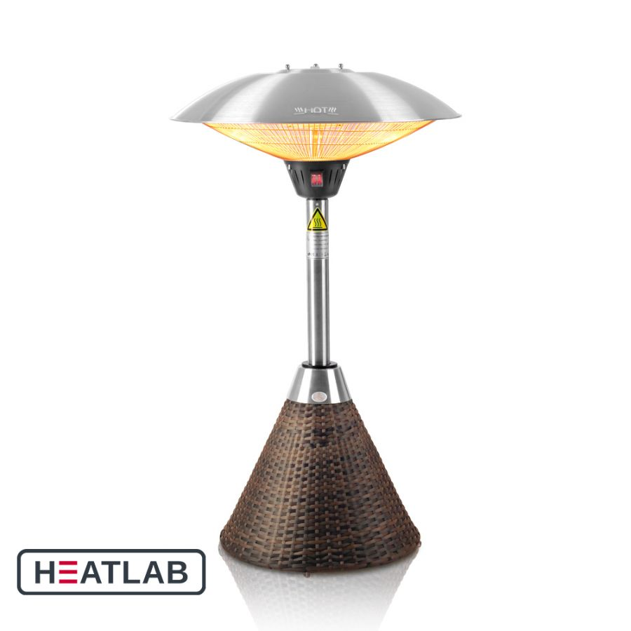 2.1kW IP44 Halogen Bulb Electric Infrared Table Top Heater with Brown Rattan Base 3 Heat Settings by Heatlab®