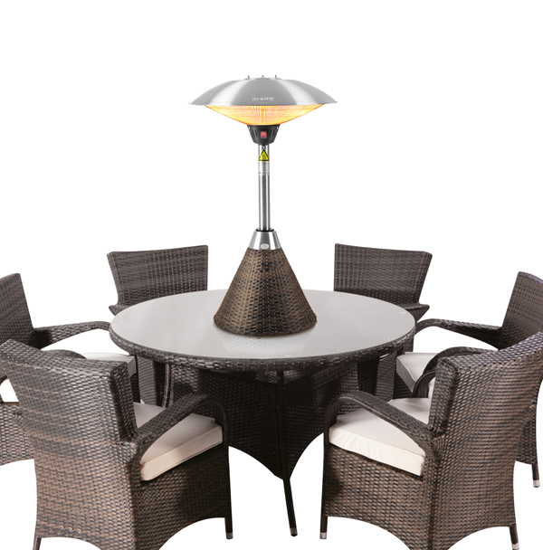 2.1kW Halogen Bulb Electric Infrared Table Top Heater with Brown Rattan Base and 3 Heat Settings by Firefly™