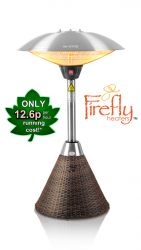 2.1kW IP44 Halogen Bulb Electric Infrared Table Top Heater with Brown Rattan Base 3 Heat Settings by Firefly™