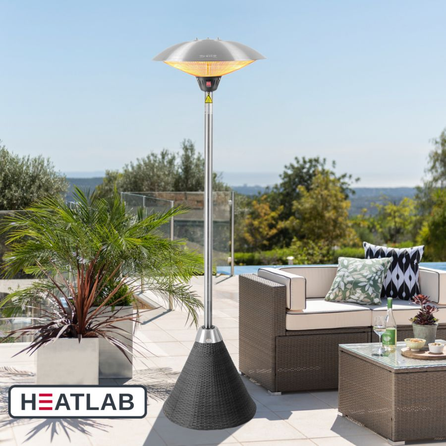 H2.1m 2.1kW IP44 Freestanding Halogen Bulb Infrared Electric Patio Heater with Black Rattan Base by Heatlab®