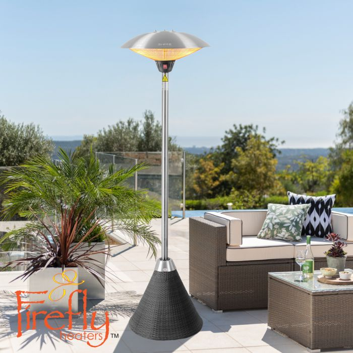 H2.1m 2.1kW IP44 Freestanding Halogen Bulb Infrared Electric Patio Heater with Black Rattan Base by Firefly™