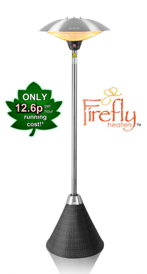 Firefly™ 2.1m Freestanding Halogen Bulb Infrared Electric Patio Heater with Black Rattan Base