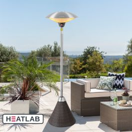 H2.1m 2.1kW IP44 Freestanding Halogen Bulb Electric Infrared Patio Heater with Brown Rattan Base by Heatlab®