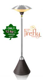 H2.1m 2.1kW IP44 Freestanding Halogen Bulb Electric Infrared Patio Heater with Brown Rattan Base by Firefly™