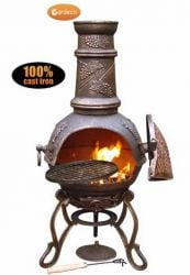 Gardeco Toledo Cast Iron Bronze Grapes Chiminea - H98cm x D39cm