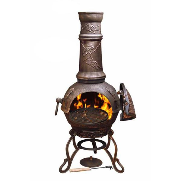 Gardeco Toledo Cast Iron Bronze Grapes Chiminea by Gardeco™