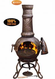Gardeco Toledo Cast Iron Bronze Grapes Chiminea - H115cm x D41.5cm