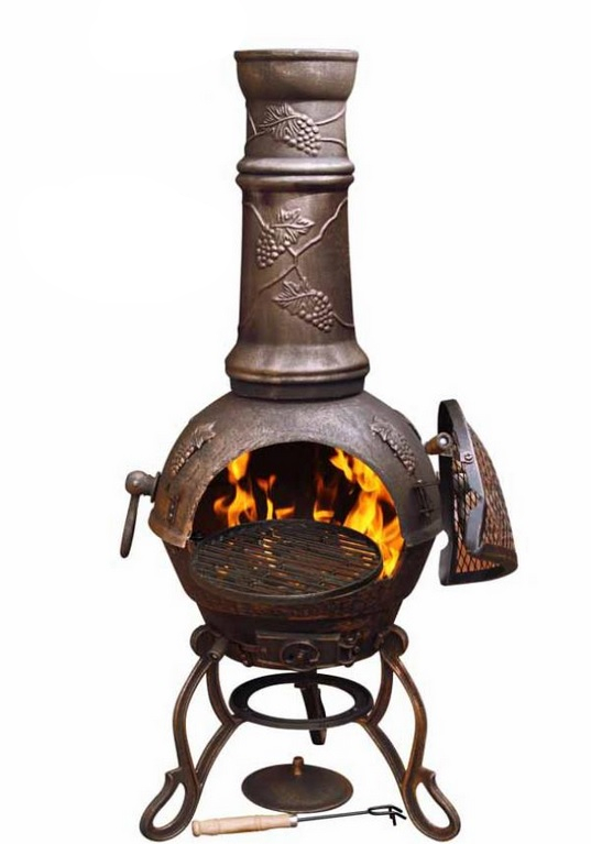 Gardeco Toledo Cast Iron Bronze Grapes Chiminea - H129cm x D45cm
