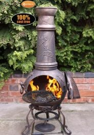 Toledo Cast Iron Chiminea Grape Design in Bronze by Gardeco™