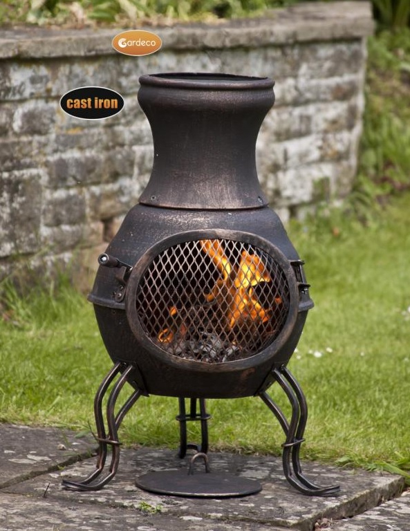 Gardeco Billie Bronze Cast Iron Chiminea - H70cm x D38cm