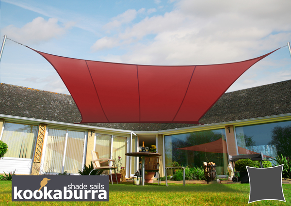 Kookaburra® 5.4m Square Marsala Red Waterproof Woven Shade Sail