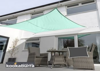 Kookaburra® 5mx4m Rectangle Turquoise Waterproof Woven Shade Sail