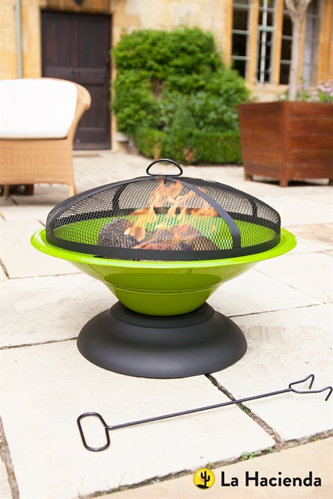 La Hacienda Moda Enamelled Firepit in Lime Green