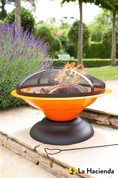 D61cm Moda Enamelled Firepit in Orange - La Hacienda™