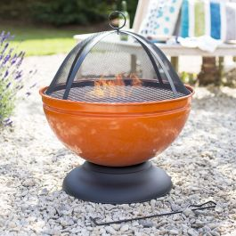 Enamelled Globe Firepit with Grill in Orange - by La Hacienda™