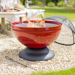Enamelled Globe Firepit with Grill in Red - by La Hacienda™