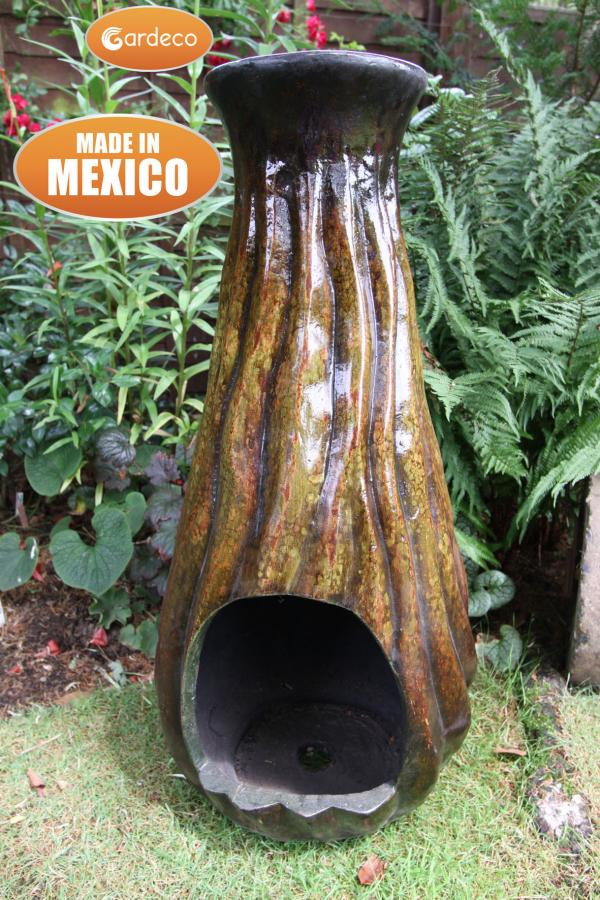 Calabaza Mexican Art Clay Chiminea - H85cm by Gardeco™