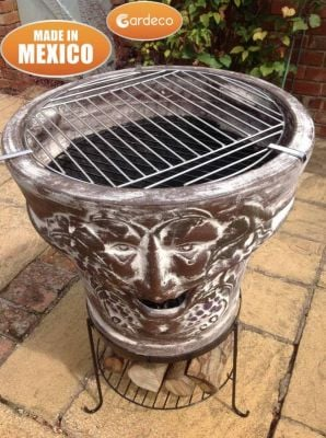 Asadro Bacchus Mexican Art Clay Chiminea and BBQ - H86cm by Gardeco™