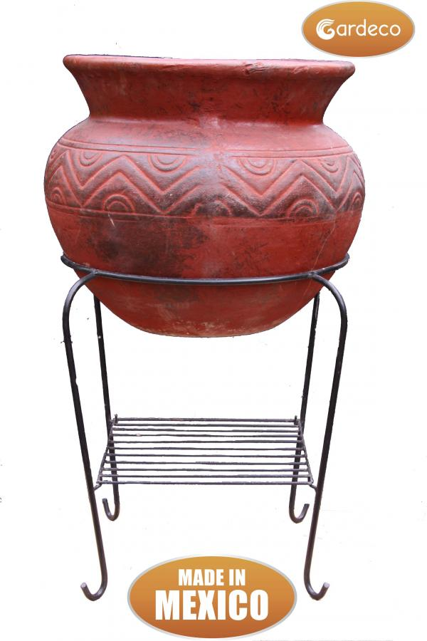 Asador Redondo Mexican Art Clay Chiminea and BBQ - H83cm by Gardeco™