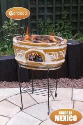 Asador Azteca Mexican Art Clay Chiminea and BBQ - H70cm by Gardeco™