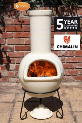 Sempra Fireproof Clay Chiminea - Glazed Ivory - H105cm by Gardeco™