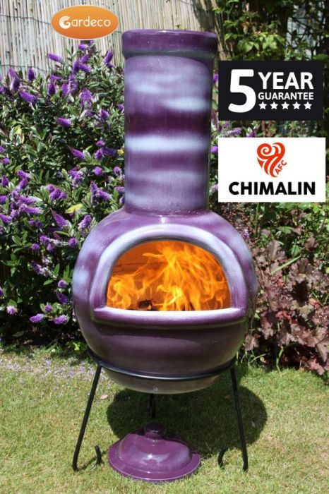 Sempra Fireproof Clay Chiminea - Glazed Mottled Purple - H105cm by Gardeco™