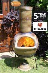 Sempra Clay Chiminea Glazed in Mottled Sand by Gardeco™