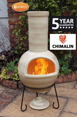 Sempra Fireproof Clay Chiminea - Glazed Mottled Light Brown - H105cm by Gardeco�