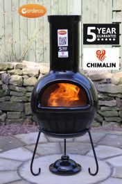 Sempra Fireproof Clay Chiminea - Glazed Black - H105cm by Gardeco™