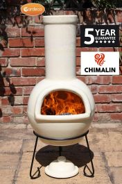 Sempra Fireproof Clay Chiminea - Glazed Ivory - H88cm by Gardeco™