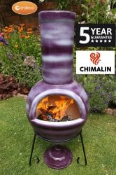 Sempra Fireproof Clay Chiminea - Glazed Mottled Purple - H108cm by Gardeco™