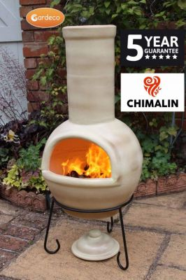 Sempra Fireproof Clay Chiminea - Glazed Mottled Light Brown - H108cm by Gardeco™