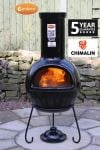Sempra Fireproof Clay Chiminea - Glazed Black - H105cm by Gardeco�