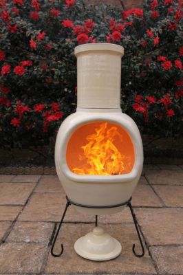 Asteria Fireproof Clay Chiminea - Glazed Ivory - H129cm by Gardeco™