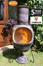 Asteria Fireproof Clay Chiminea - Glazed Mottled Dark Brown - H129cm by Gardeco™