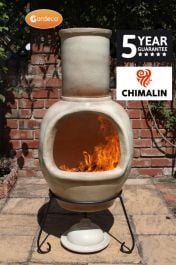 H129cm Asteria Clay Chiminea Glazed in Mottled Light Brown by Gardeco™