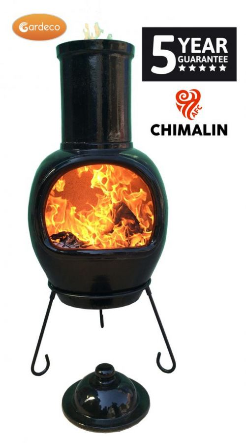 Asteria Fireproof Clay Chiminea - Glazed Jet Black - H129cm by Gardeco™