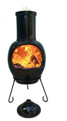 H129cm Asteria Clay Chiminea - Glazed in Jet Black by Gardeco™