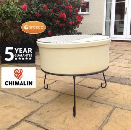 75cm Atlas Fireproof Clay Fire Pit in Glazed Ivory - by Gardeco™